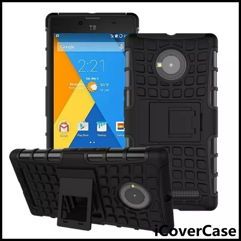Heavy Duty Dual Case Impact Hybrid Armor Hard Cover For Micromax Yu Yuphoria with Kickstand