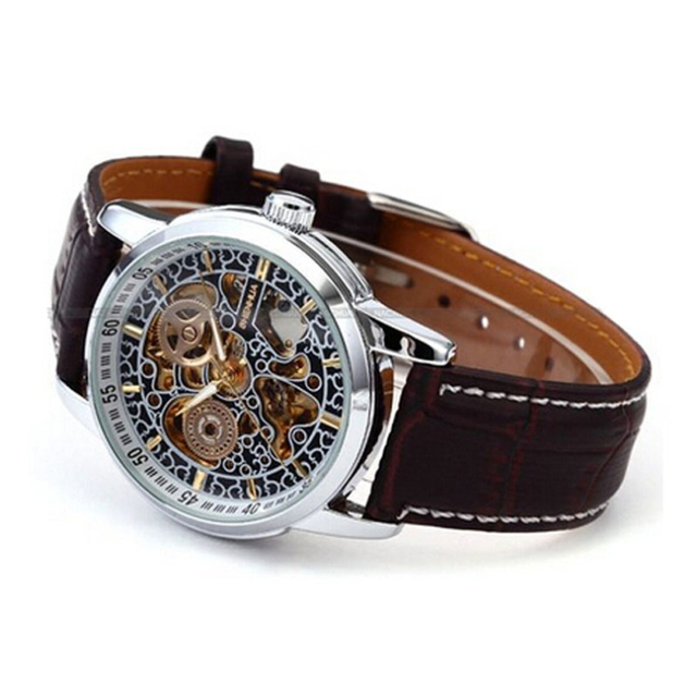supper deal Men' s Auto Self Wind Mechanical Hollow PU Leather Strap Wrist Watch free shipping! supper fun