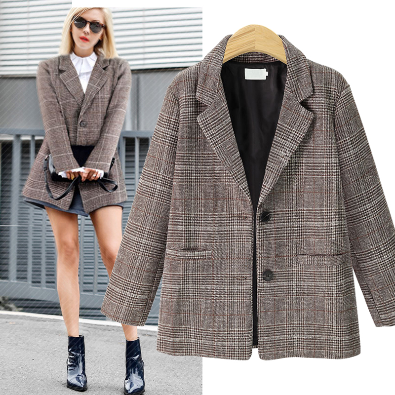 2018 Autumn Winter Fashion Plaid Blazers Women Single Breasted Female Outerwear Ladies Jackets Blazer Feminino