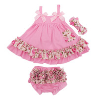 Newborn Ruffles Bloomers Girl Short Baby Clothing Set 2018 Summer Style Bloomer+Sling Bat Shirt Infant 0 24 Months Girls Clothes