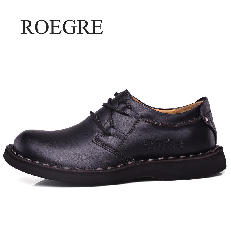 ROEGRE Brand Men Shoes New 2018 Men Casual Shoes High Quality Genuine Leather Men Flats Shoes Comfortable Black Men Shoes new men s fashion casual shoes high quality genuine leather comfortable loafers for men flats shoes brand taima 40 45