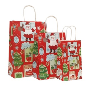 Image 3 - 40 Pcs/lot 21x13x8cm Christmas Paper Bag With Handles Decoration Paper Gift Bag For Christmas Event Party Lovely Cute Paper Bags
