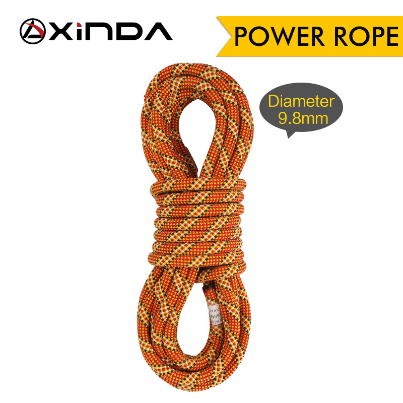 XINDA Rock Climbing Dynamic Rope Outdoor Hiking 9.8mm 10.5mm Diameter Power Rope High Strength Cord Lanyard Safety Rope Survival