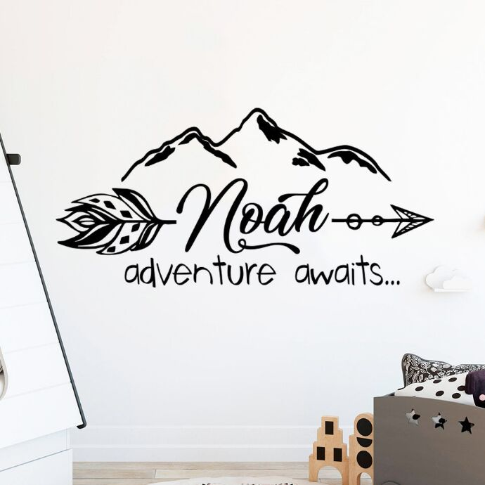 Us 6 41 25 Off Customize Babys Name Wall Mural Adventure Awaits Vinyl Sticker Mountain Nursery Decal Kids Room Decor Art Ay1251 In