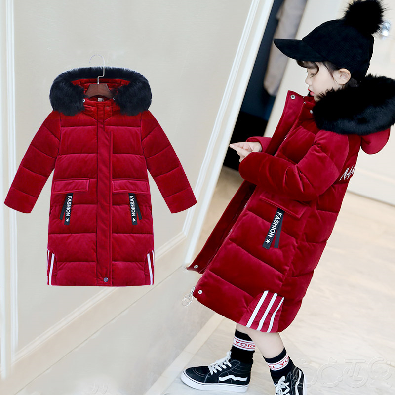 Girls cotton long section 2018 winter new thick coat down cotton padded children Korean version of gold velvet jacket