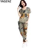 YAGENZ Summer Large Size 2 Piece Suit Sportswear Women Printing Sets 2017 Fashion Harem Pants Suit