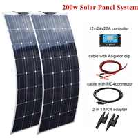 2 pcs 100W Flexible Solar Panel 200w +20A 12V/24V  Controller For Boat Caravan Home or Off-grid/Backup Solar Power systems