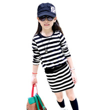 2019 new brand spring and autumn girl dress fashion children sweater set  quality cotton kid clothes  striped girl skirt suit цена