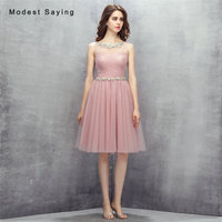 Sexy Dusty Rose A Line Mini Pleat Beaded Cocktail Dresses 2017 Girls Formal Knee Length Homecoming Prom Gowns vestidos de coctel
