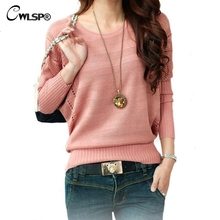 CWLSP New Fashion Women Solid Hollow Out Batwing Sleeve Sweater Casual Loose Knitted Pullover Female Autumn