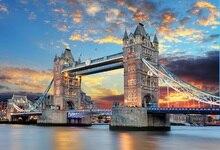Laeacco Ponte Da Torre de Londres para o Mar À Noite Fotografia Backdrops Para Estúdio de Fotografia Cenário Foto Fundos Personalizados