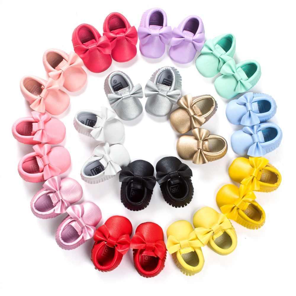 28 kolorów ROMIRUS marka buciki dla dziecka na wiosnę PU skóra nowonarodzone chłopcy dziewczęta buty buciki frędzle duża kokarda mokasyny dziecięce