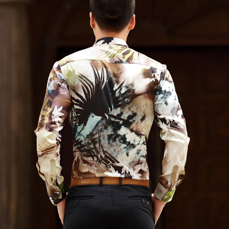 [HANGJIA] Mature Mens Real Silk Slim Fit Floral Shirt The New High-grade Silky Printed Male Social Shirts Plus Size M-4XL