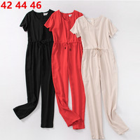 Woman's jumpsuits long pants Solid V Neck Short Sleeve Drawstring Loose Playsuit Casual Work elegant rompers womens jumpsuit