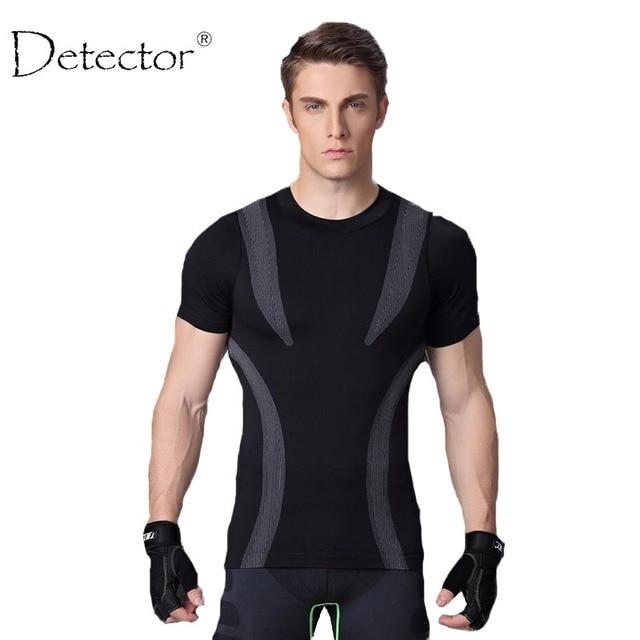 Спортивная мужская рубашка для фитнеса с детектором, футболка для бега, дышащая быстросохнущая футболка, топ из эластичного материала, Стильная Спортивная одежда