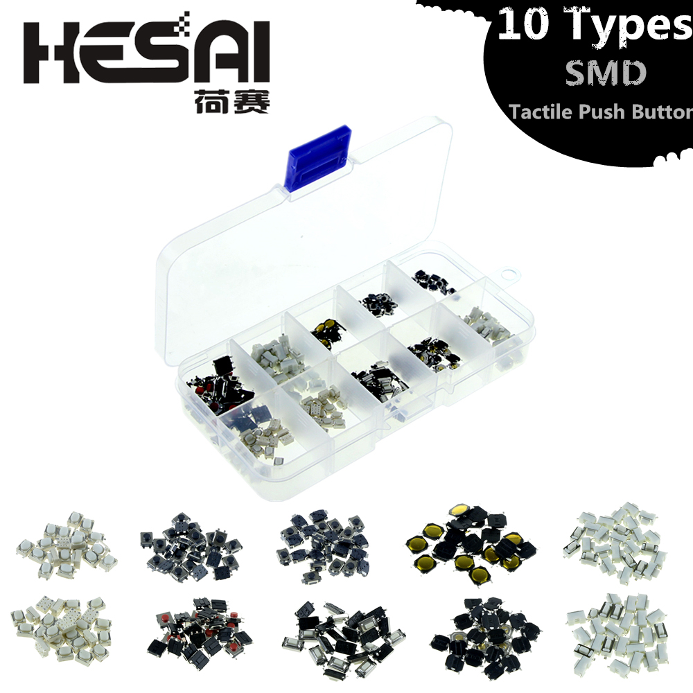 Tactile Push Button Switch Micro 250 Pcs Tactile Push Button Micro Switch Assortment for Car Remote Control Key with Box 10 Value