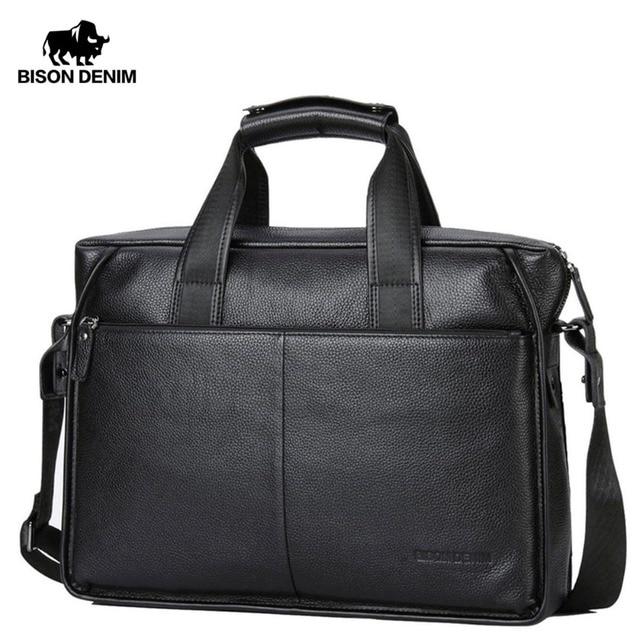 e1339f254076 BISON DENIM Mens Genuine Leather Business Briefcase 14 Soft Cowhide  Messenger Bag