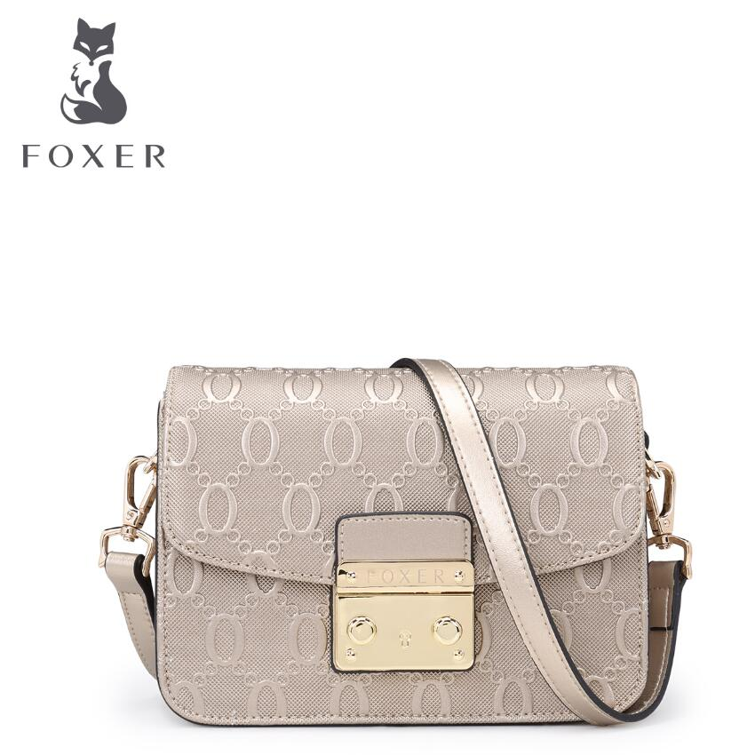 ФОТО FOXER2017 new luxury fashion Superior Cowhide Leather Messenger Bag brand-name products 100% high-quality women well-known