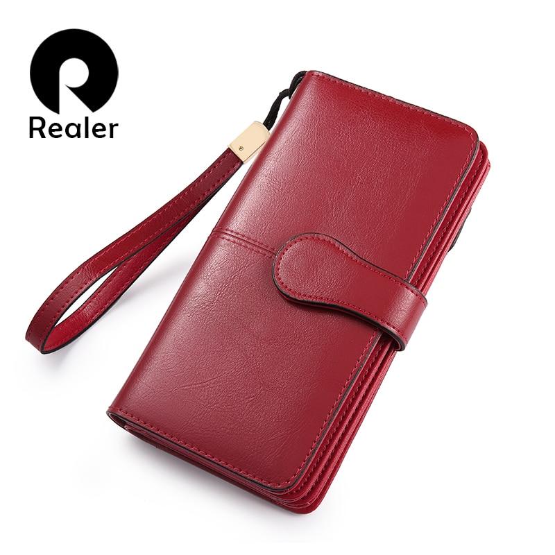 REALER women wallet split leather fashion famale long purse new ladies clutch mini style card holder coin pocket 2018 for women