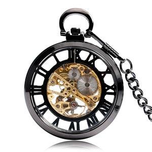 Image 2 - Steampunk negro esqueleto números romanos ver a través del reloj de bolsillo cuerda a mano mecánica reloj Fob con cadena Unisex regalo de Navidad