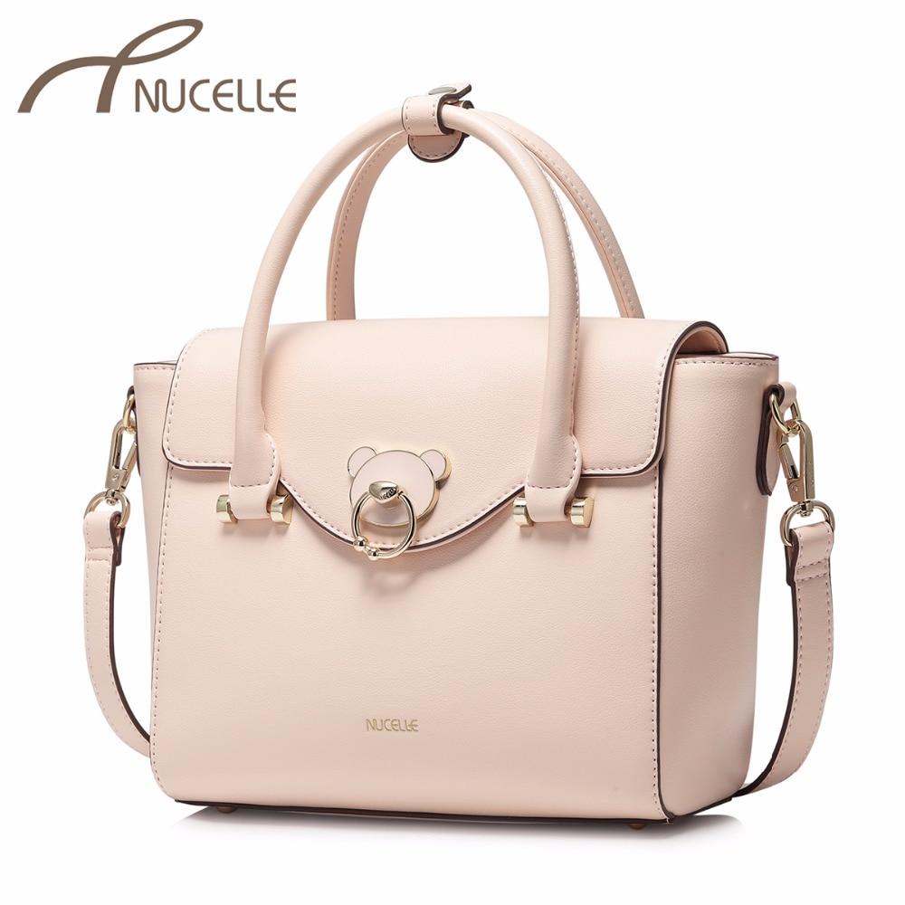 NUCELLE Women's PU Leather Handbag Ladies Fashion Brief Bear Tote Shoulder Purse Female Wing Pink Leisure Brand Messenger Bags женские толстовки и кофты milson 2015 a8 2