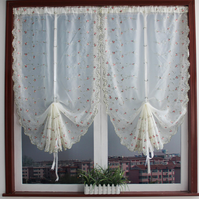 Korean Fresh Small Buds Fan Shaped Curtains Roman Bedroon And Living Room Embroidered Window