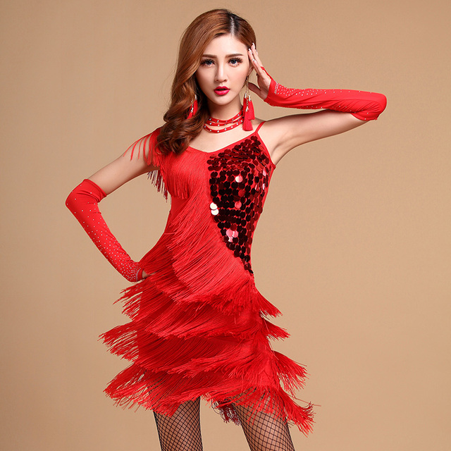 f712412e7 Women Adult Tassels Sexy Unequal Girls Sequin Fringe Lady Latin Tango  Ballroom Salsa Dance Dress Stage Dresses