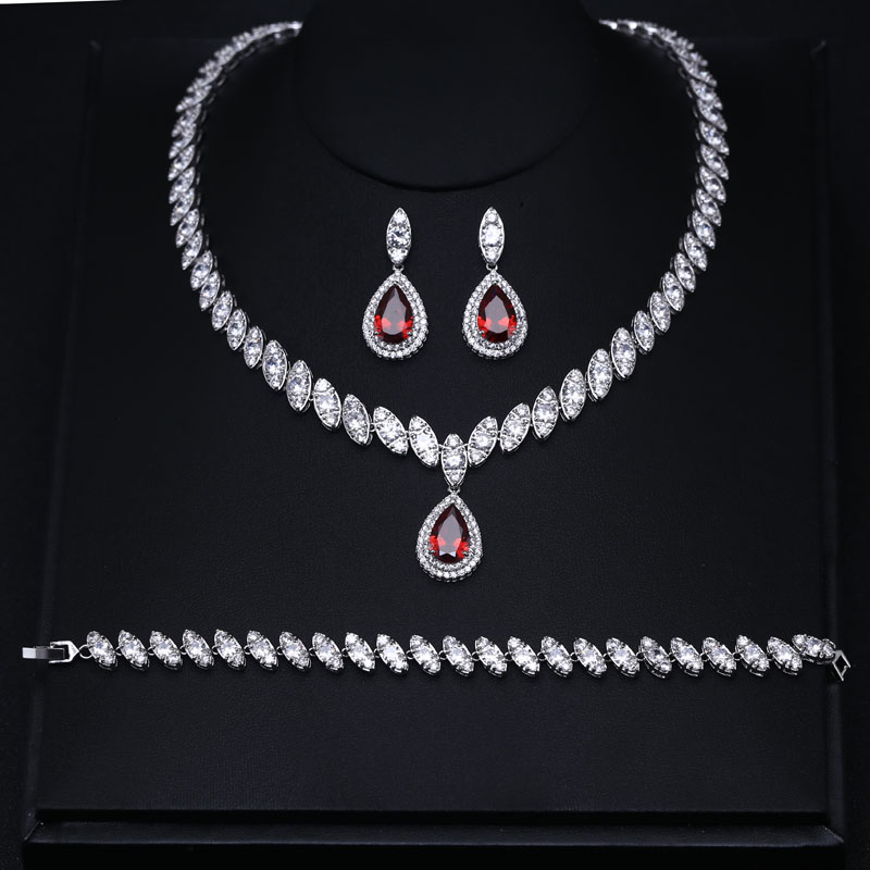 Fashion AAA Red Cubic Zircon Jewelry Sets ,Earrings Necklace Bracelet Full Set,Promotion,Nickel Free, Factory price