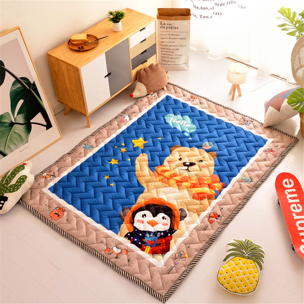 Cartoon Bear Area Rug Children Room Decor Thickness Tatami Mat Quilted Wave Pattern Bedroom Living Room