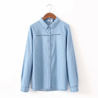 Female 100 Cotton Shirt Spring And Autumn Fashion Cute Letter Embroidery Light Blue Full Sleeve Casual