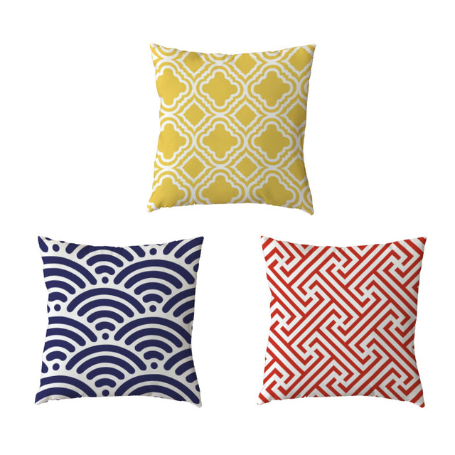 Colorful Geometric Pattern White Throw Cushion Cover Square Ethnic Style Yellow Geometry Car Home Decor R