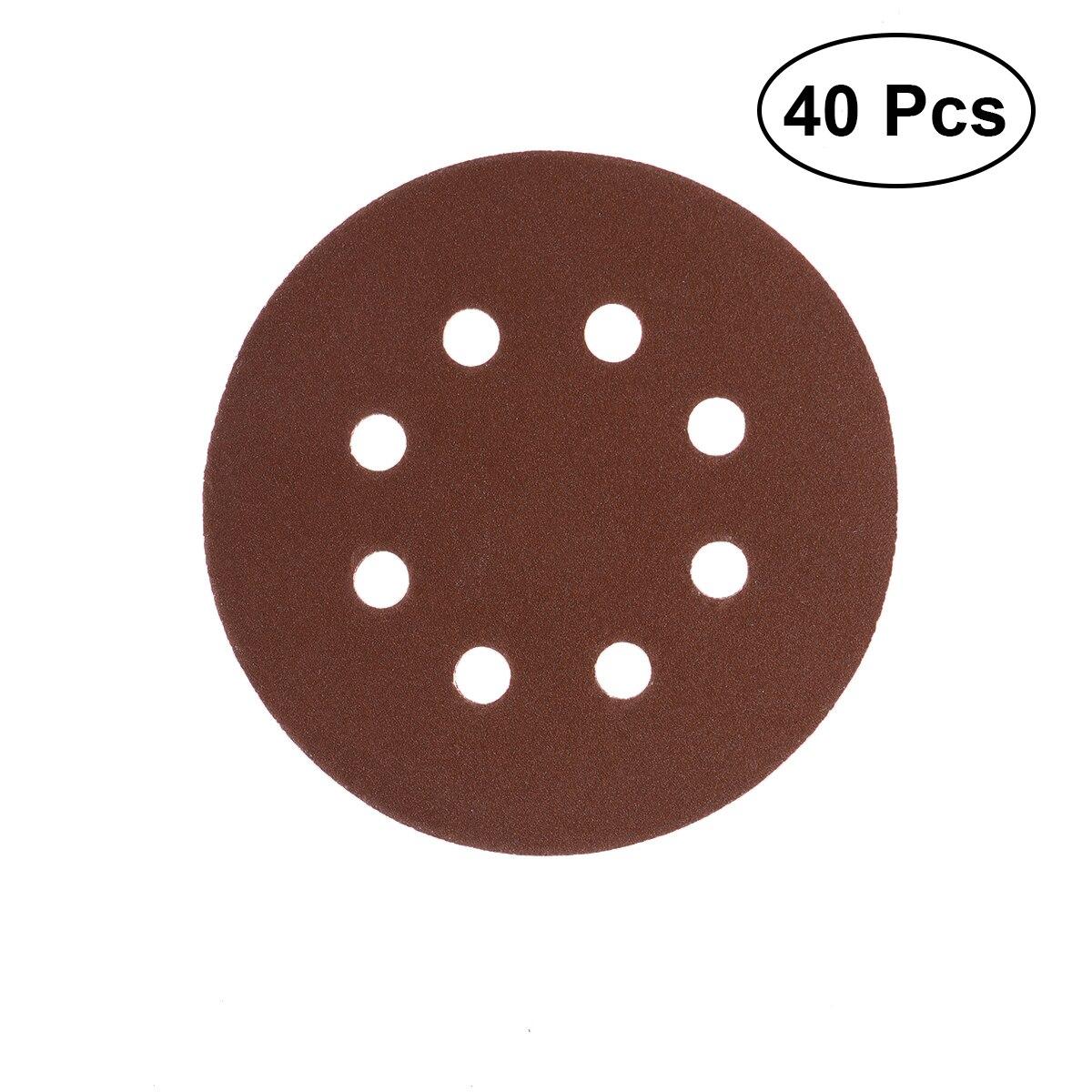 40pcs 8 Hole Abrasive Sandpaper 5 Inch Sanding Discs 60# 80# 120# 210# Grit For Bosch PEX 220/300 Random Orbital Sander 125mm