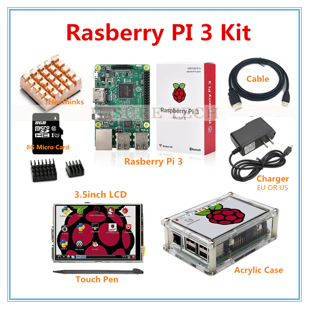 Raspberry Pi 3 Model B + 3.5 Inch LCD Touch Screen+ Raspberry Pi 3 Case+HDMI Cable+2.5A Power Supply+8GB SD Card for pi 3 wareshare replacement 4 lcd touch screen module for raspberry pi model b b blue