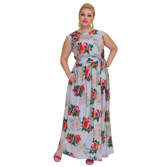 2cb31b27244 2018 New Fashionable 5XL 6XL Large Size Flower Printed Women s Dress Big  Size Women Clothing Maxi Long Summer Dress Plus Size