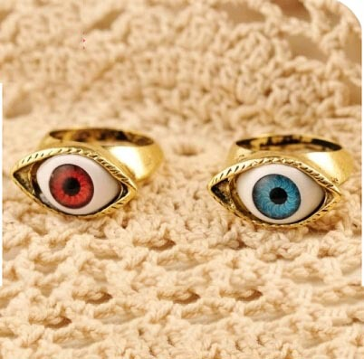 Wholesale Price 5 Kinds of color Random Zinc Alloy Red Blue retro accessories ring exaggerated female eyes rings for women