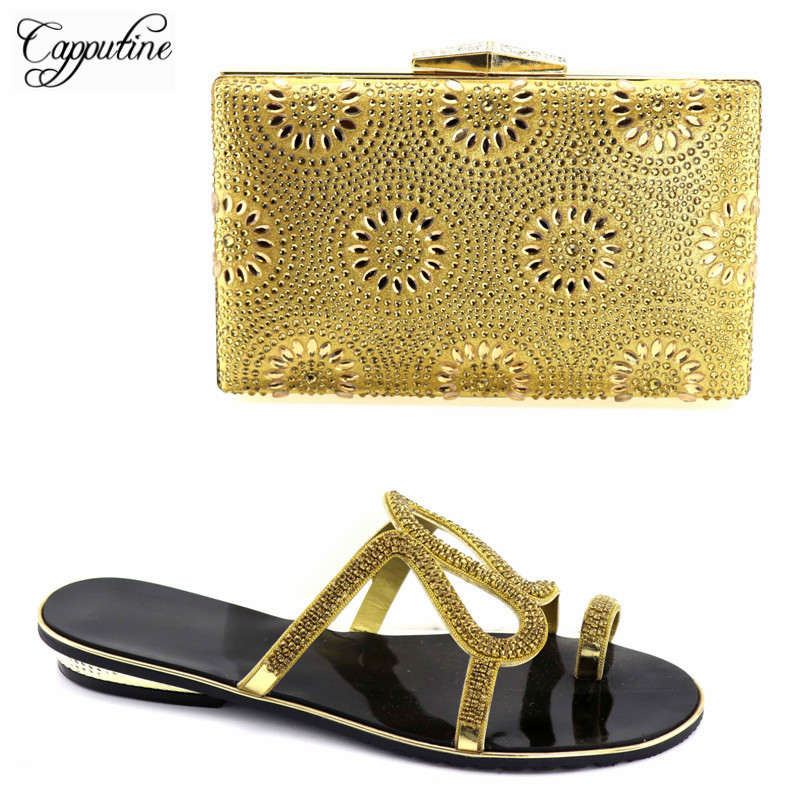 Capputine 2018 New African Design Ladies Shoes And Bag Set Summer Fashion Low Heel Shoes And Bag Set For Wedding Party TX-04