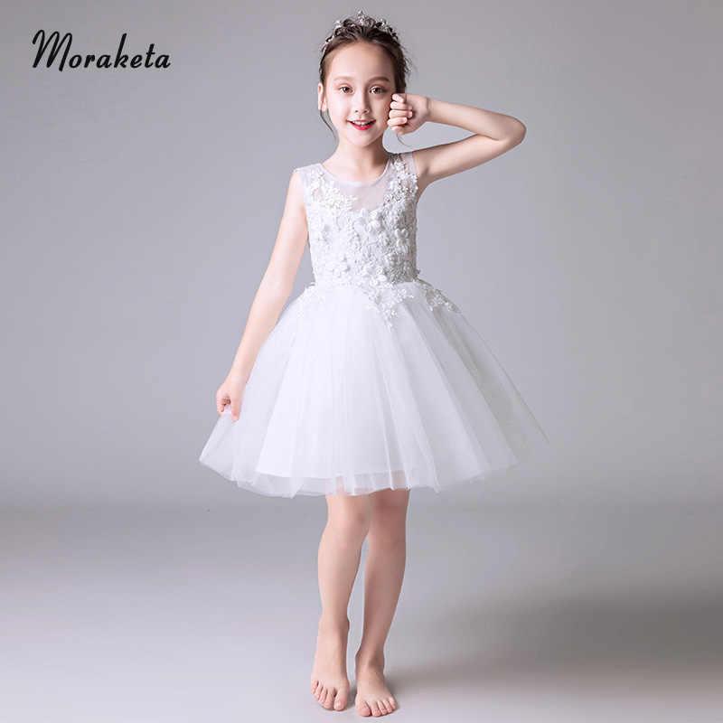 Vestidos De Princesa De Encaje Blanco Flor Niña Vestidos