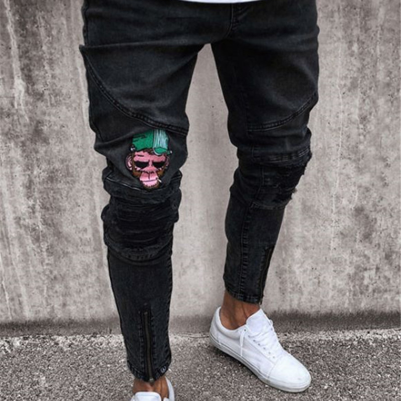 Men brand men's black trousers homme embroidery   jeans   Straight High Stretch Feet skinny   jeans   Fashion Men Casual Slim pants 2018