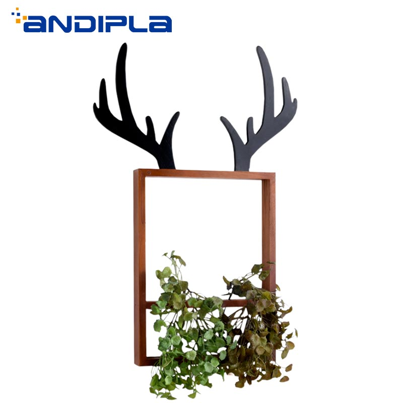 Creative Antlers Wooden Frame Wall Vase Glass Test Tube Hydroponic Plant Flower Pot Potted Nordic Style Home Decor Wall OrnamentCreative Antlers Wooden Frame Wall Vase Glass Test Tube Hydroponic Plant Flower Pot Potted Nordic Style Home Decor Wall Ornament