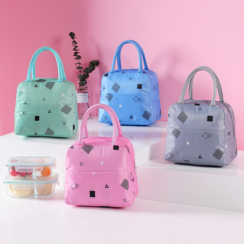 Pink Waterproof Oxford Lunch Bag Portable Insulated Thermal Cooler Lunch Bag For Girls Student Lunch Box Picnic Case Storage Bag