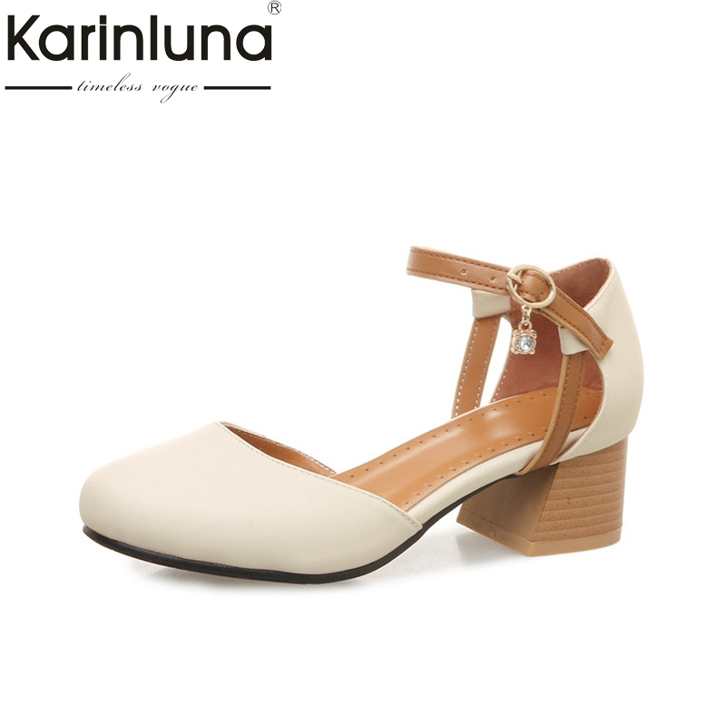 KarinLuna Women's Quality  Ankle Strap Chunky Heels Summer Shoes Woman Color Mixed Party Wedding Pumps Big Size 32-46 big size 32 44 ankle strap patch color super hoof high heels platform shoes woman spring summer pumps party dress shoes sexy