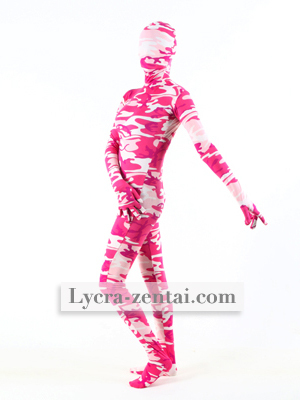 Pink Camouflage Zentai Suit Spandex Lycra Fullbody Zentai Suits Hot Sale Free Shipping