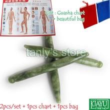 Free shipping! Natural Glaze Jade Massage Tool Guasha Beauty Board (pen shape) 2pieces/lot