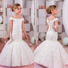 2019 Mermaid Lace Flower Girl Dresses for Weddings Ivory Kids Evening Dress Holy Communion Dresses For Girls Pageant Gowns cute mermaid girls pageant gowns lace applique sleeveless lace up flower girls dresses for wedding any size