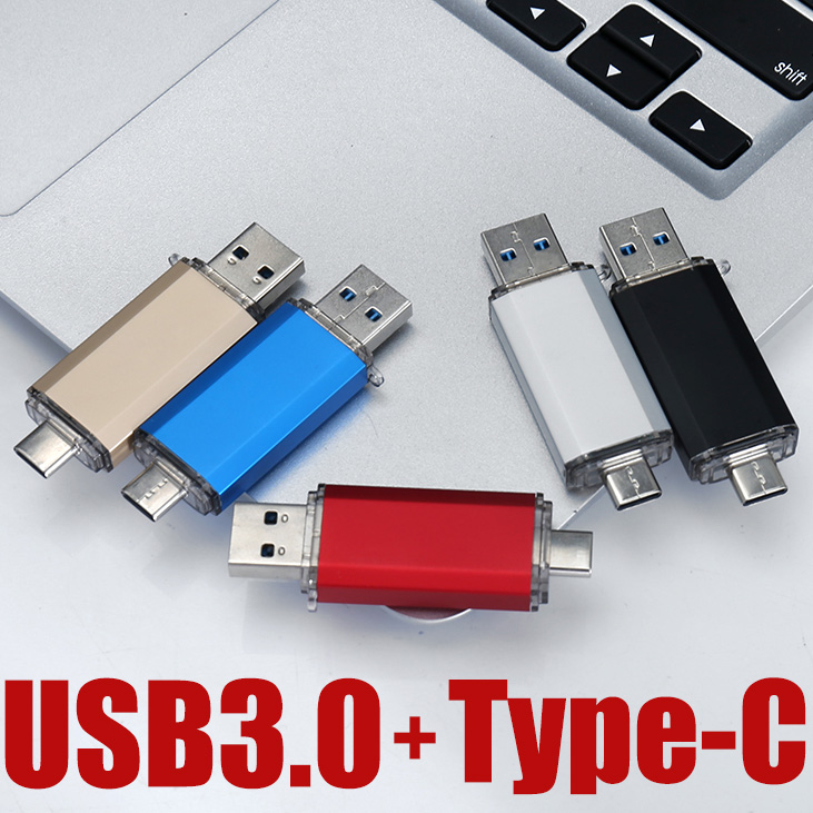 USB 3.0 Type-c Adapter OTG Flash Drive 16G/32G/64G/128G/256GB USB Flash Memory Stick U Disk Foldable Key Pendant Gift