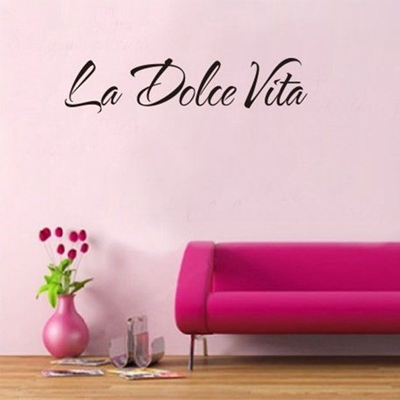 Word Wall Art Vinyl Lettering Home Decor ~ Italian quote la dolce vita letter word room decor vinyl