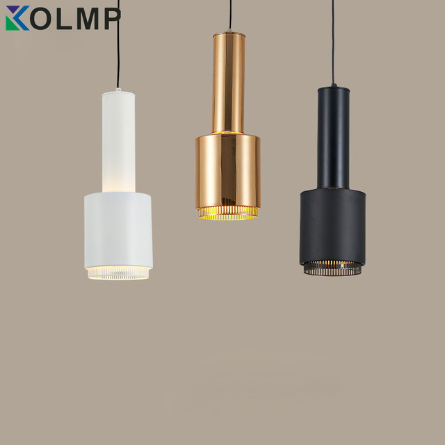 White/Black/Gold Iron Pendant Lamp Single Head Plated Metal Wire ...