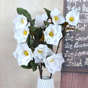 Sztuczne Magnolia jedwabny kwiat sztuczne rośliny oddział Fleur kwiat strona główna dekoracje ślubne DIY akcesoria do dekoracji domu