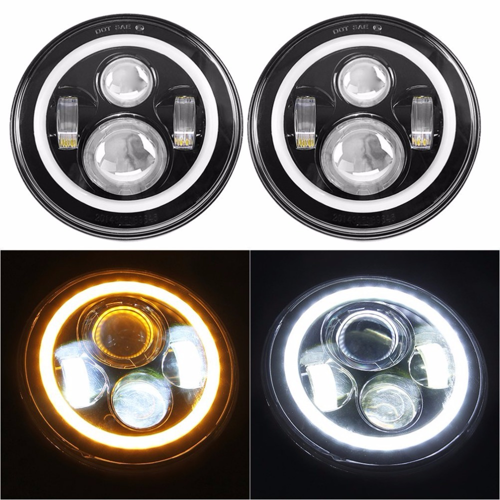 7 LED Headlights Bulb with White Halo Angel Eye Ring DRL & Amber Turn Signal Lights for Jeep Wrangler JK LJ CJ Hummer H1 H2 7 led halo headlights for jeep wrangler jk jku tj lj rubicon sahara unlimited white drl amber turn signal 4 halo fog light