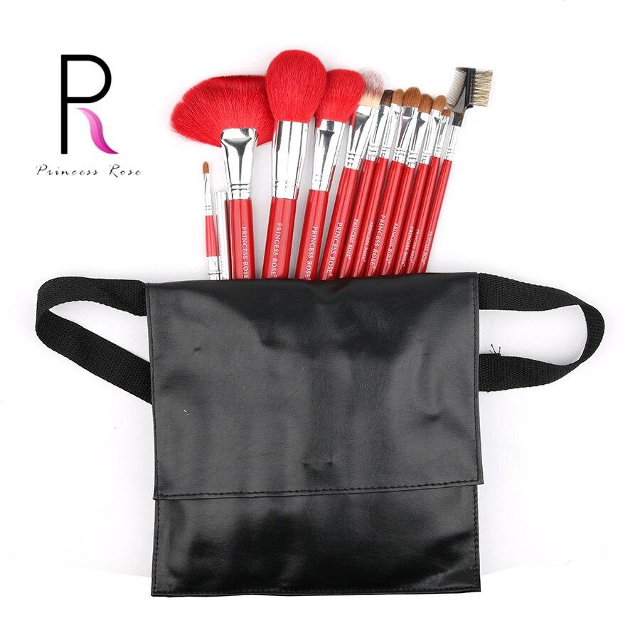 Princess Rose Brand 12pcs Professional Full Make Up Makeup Brushes Set With Bag Goat Horse Hair